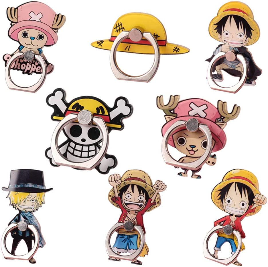 St.Mandyu Anime One Piece Cartoon Character Stand Phone Ring Holder 8PCS-A 360/° Rotation Finger Ring Stand Grip for Magnetic Phones /& Tablets