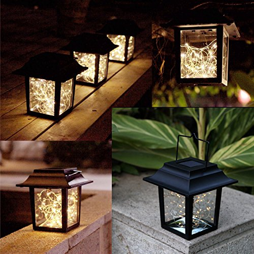 - Sunlane Solar Hanging Lantern Lights Outdoor,Solar Lantern with Handle and 30 Warm White LEDs Solar Table Lamp for for Lawn Patio Yard Pathway Walkway Courtyard Garden (Warm White)