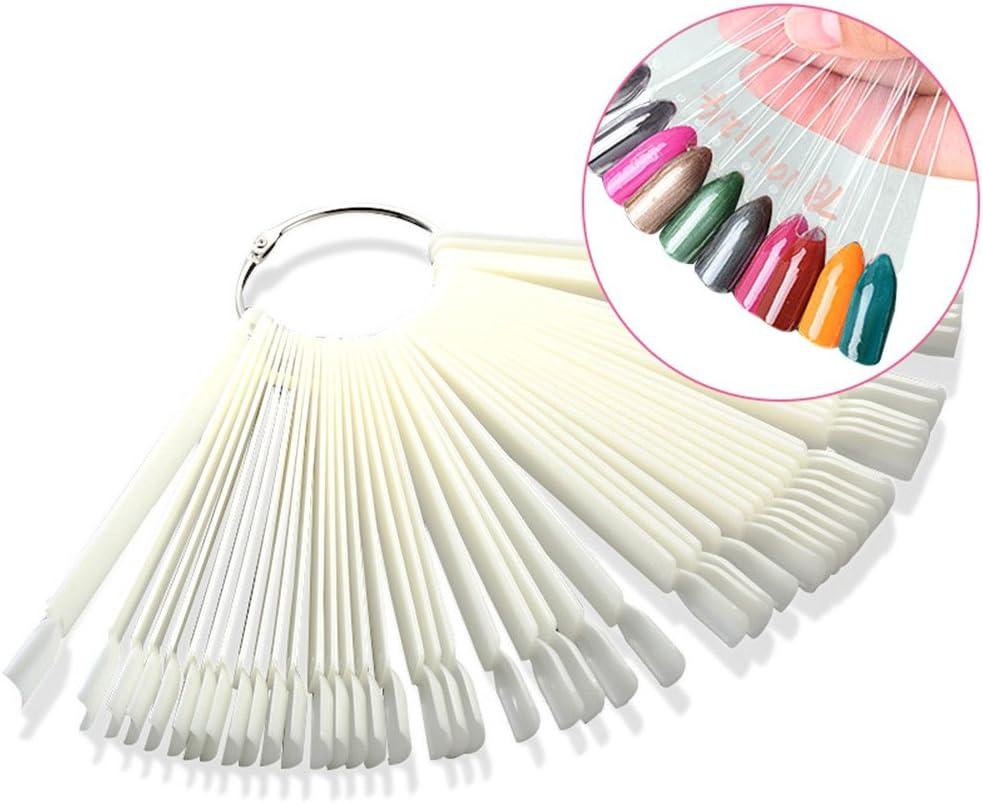 Transparent False Nail Art Tips Sticks Nail Polish Color Card Plates Display Polish Board Nail Art Practice Templates 50 PCS