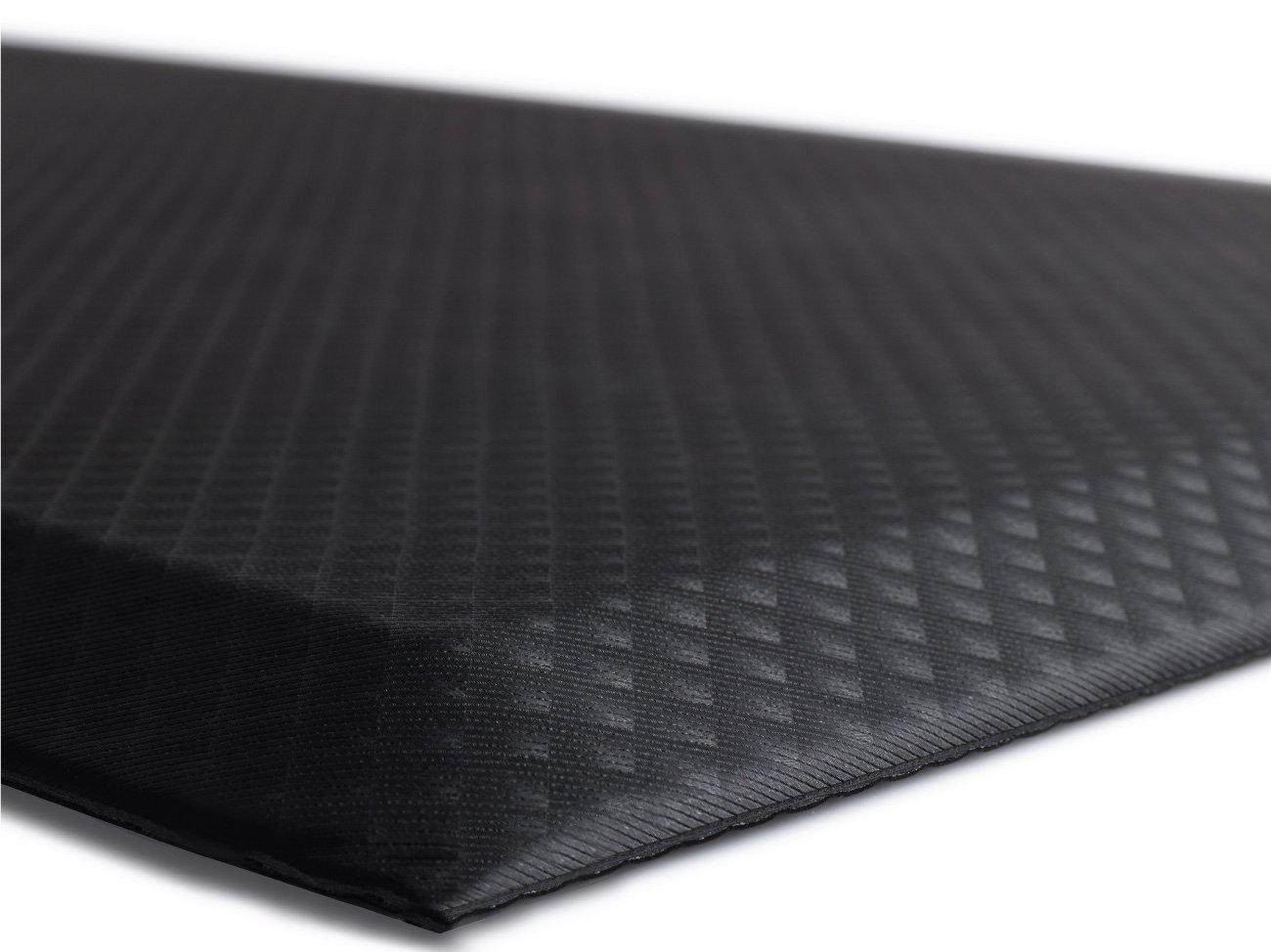 The Original 3/4'' KANGAROO (TM) Anti-Fatigue Comfort Mat Kitchen Rug, Ergonomically Engineered, Non-Toxic, Waterproof, 70x24 inches (Black)