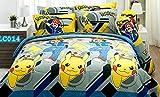 Pokemon Official Licensed Yellow Gray Bedding Set, Fitted Sheet, Pillow Case, Bolster Case, Comforter DLC014 Set B+1 (Queen 60''x78'')