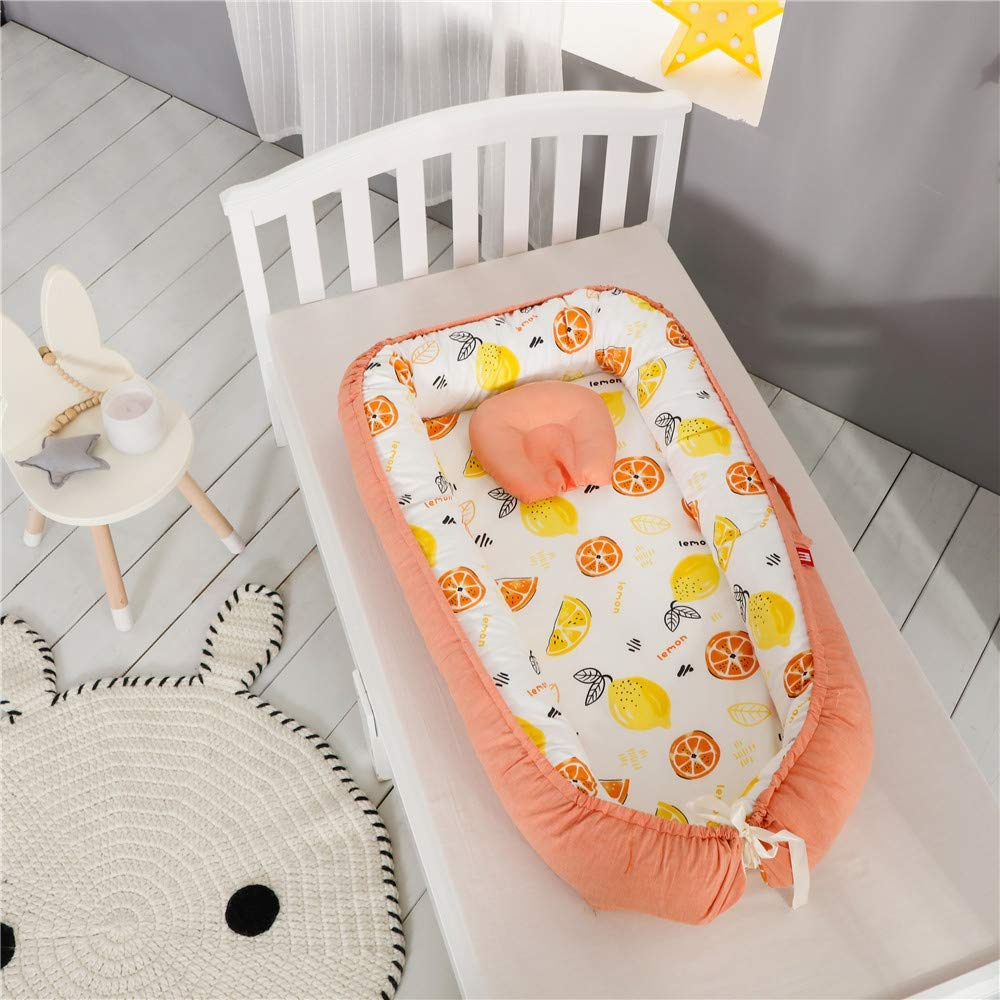 Small Loquat Baby Lounger 100/% Cotton Portable Crib for Bedroom//Travel Abreeze Baby Bassinet for Bed Breathable /& Hypoallergenic Co-Sleeping Baby Bed