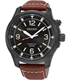 Seiko - SKA691P1 - Kinetic - Montre Homme - Kinetic Analogique - Cadran Noir - Bracelet Cuir Marron