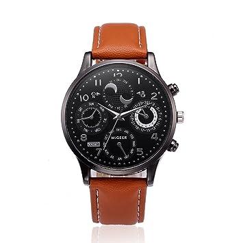 Relojes Hombre Inteligentes 💝💞 Yesmile Relojes de diseño Retro Banda de Cuero Relojes analógicos Reloj de Pulsera de Cuarzo de aleación: Amazon.es: Hogar