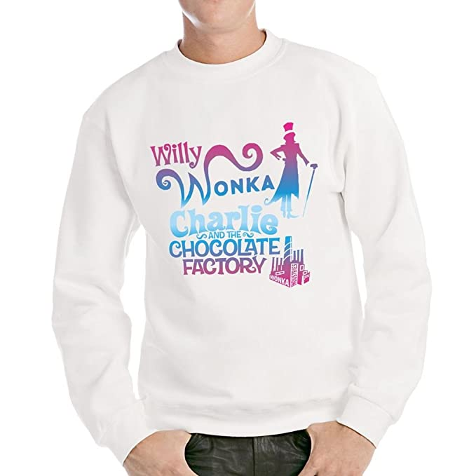 MUSH Sudadera Willy Wonka Charlie y la fábrica de Chocolate - Film by Dress Your Style Blanco Blanco Small: Amazon.es: Ropa y accesorios