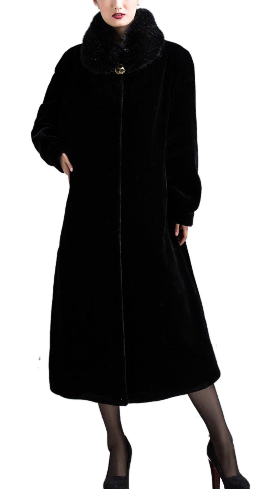 Women's Black Maxi Length Faux Mink Fur Coat Long Sleeve Winter Outerwear 3XL