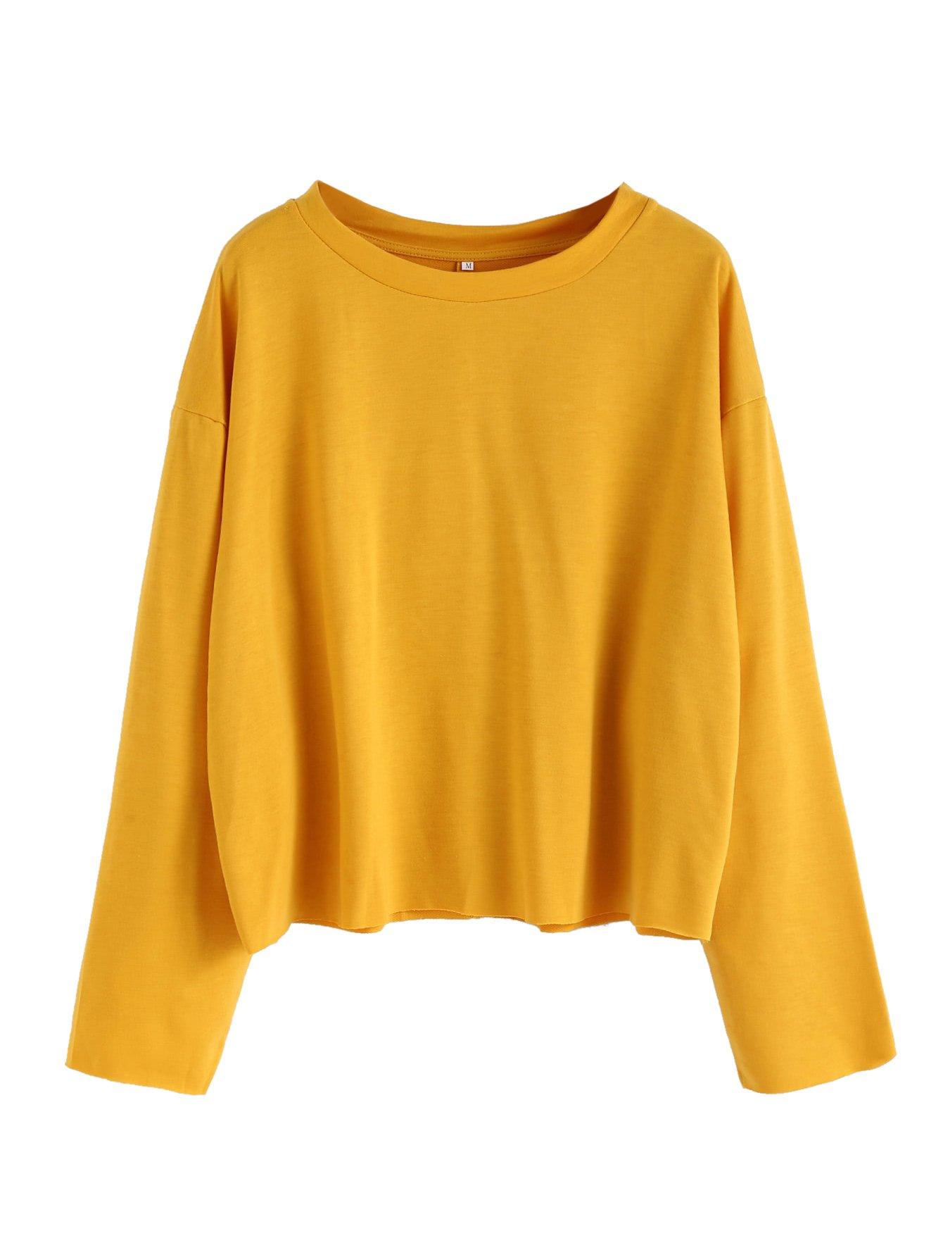 SweatyRocks Women's Casual Long sleeve Tops Raw Cut Pullover Sweatshirt Yellow M