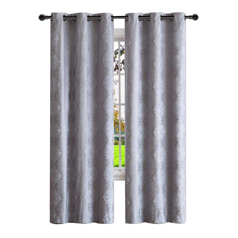 Warm Home Designs Pair of Extra Long 37'' x 108'' Grey Silver 100% Blackout Insulated Thermal Bedroom Curtains. Total Blackout Curtains Contain 2 Panels in Each Package. JE Silver 37 x 108