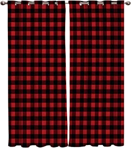 Window Curtain Buffalo Plaid Red and Black Checker Home Decor Draperies 2 Panels Set for Living Room Bedroom