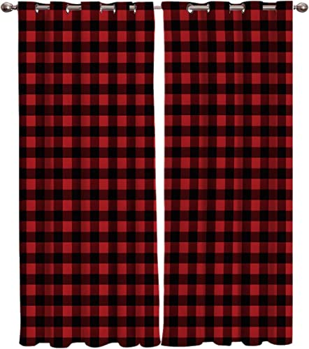 Window Curtain Buffalo Plaid Red and Black Checker Home Decor Draperies 2 Panels Set