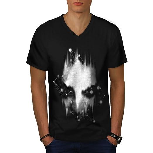 836ee5018a6f Amazon.com  wellcoda Abstract Face Fantasy Mens V-Neck T-Shirt