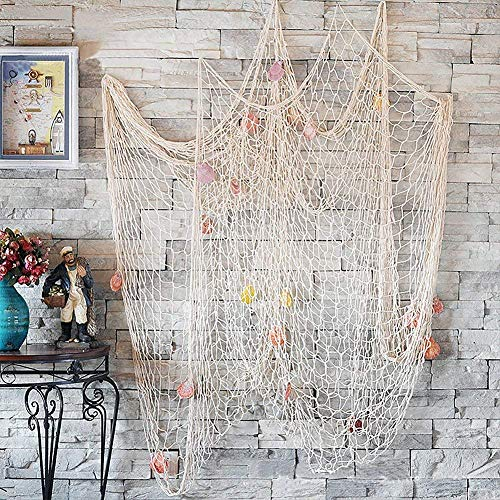 CoZroom Fish Net Wall Decoration Pack with Seashells for Party Home Living Room Bedroom Mediterranean Style Medium Size 4ft 11 X 6ft6]()