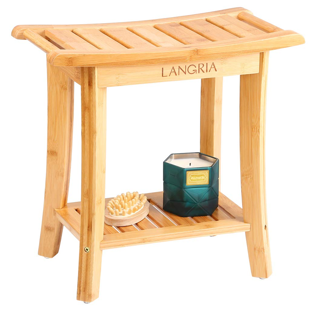 "LANGRIA Bamboo Shower Bench Waterproof Wood Shower Chair, Spa Bath Organizer Seat Stool with Rubber Feet Hanging Rods for Indoor or Outdoor Bathroom Shower Seat (18.20""x9.80""x18.80"")"