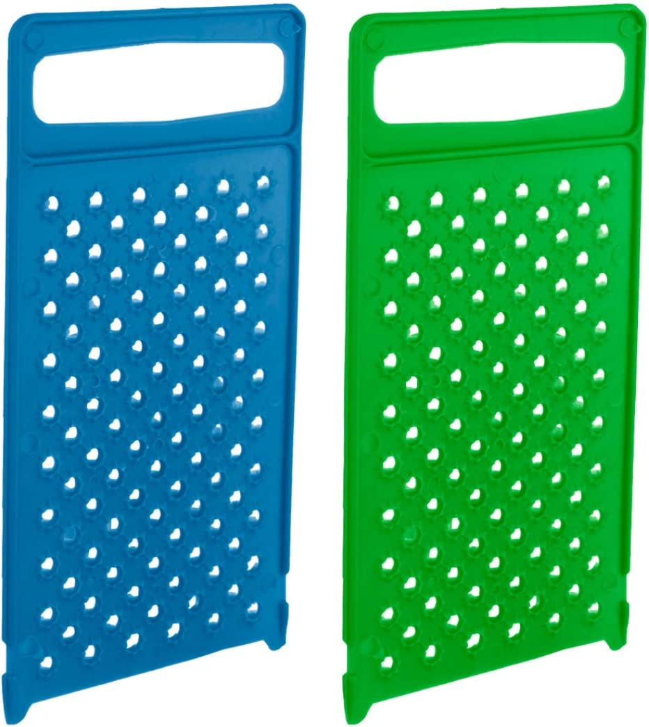 Plastic Food Grater - Pack of 2 - Easy Flat Hand Grater - Fine Cheese Handheld Grater Dishwasher Safe