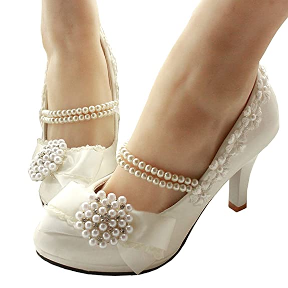 getmorebeauty Women's with Pearls Across Ankle Top High Heel Wedding Shoes