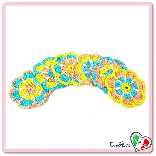 Set 6 flores de colores para aplicaciones, broche o imán de ...