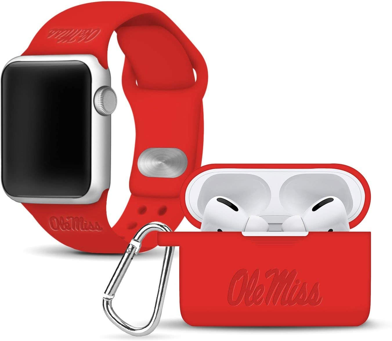 AFFINITY BANDS Mississippi Ole Miss Rebels Debossed Watch Band & Case Cover Combo Package Compatible with Apple Watch and AirPods PRO - 38mm/40mm Red/Red