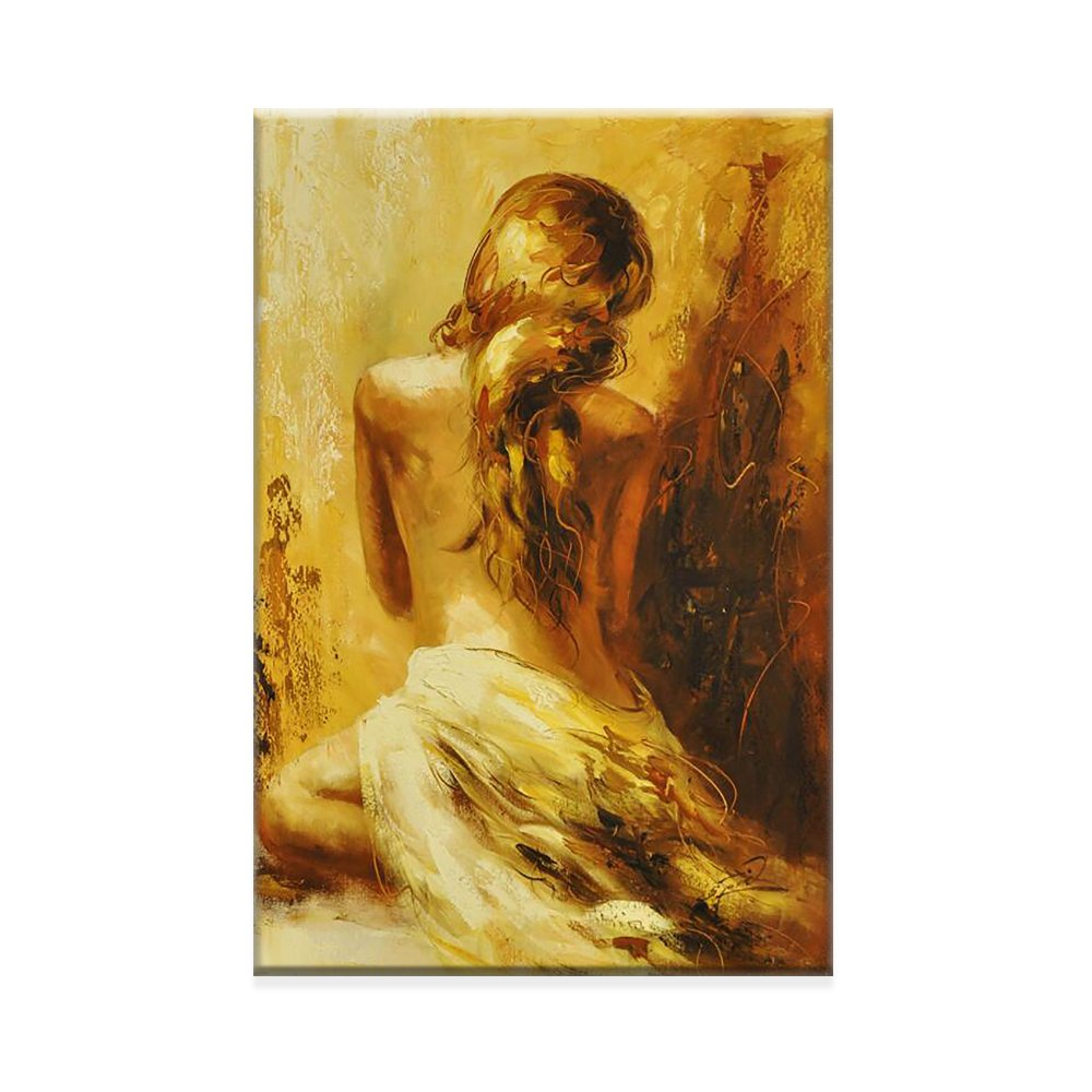 Golden nude girl bedroom decoration wall art canvas painting abstract posters and prints painting decor living room background portrait painting figure painting Framed Ready to Hang