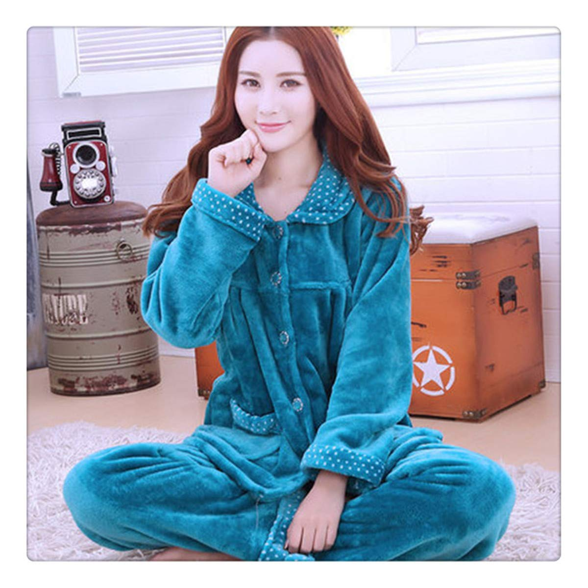 color 19 Angshanxia Autumn Flannel Women Pajamas Sets Female TurnDown Collar Full Sleepwear