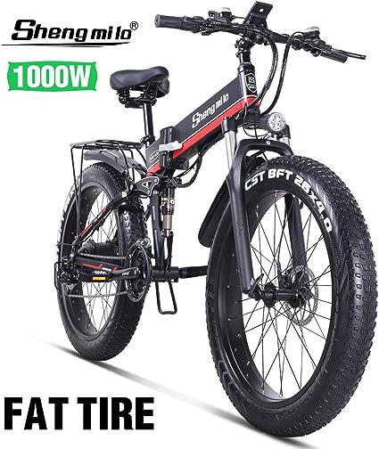 Shengmilo-mx01 26 Pulgadas Bicicleta Eléctrica para Nieve, 1000w 48v 13ah Bicicleta De Montaña Plegable El Freno De Disco Eléctrico Hidráulico Auxiliar De Velocidad Shimano 21: Amazon.es: Deportes y aire libre