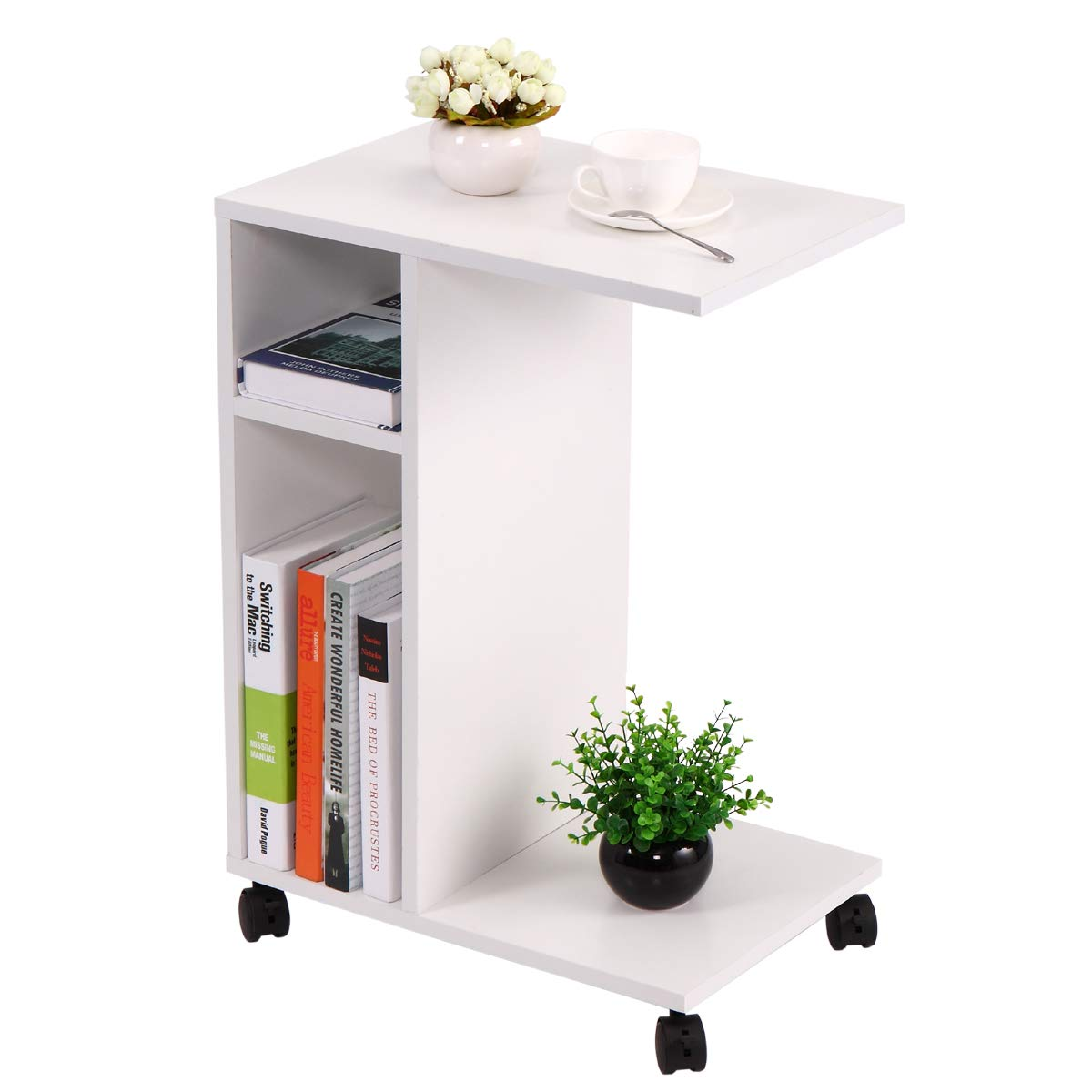 Winmart Wood Overbed Mobile Desk Laptop End Table Rolling Cart Multi Compartments with Lockable Wheels