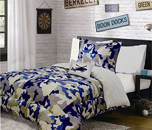 Fancy Linen Collection 8 Pc Full Size Camouflage Blue