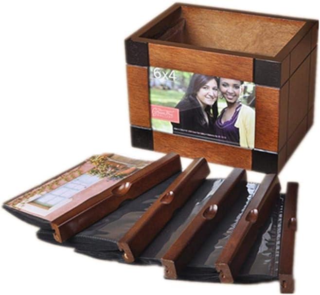 ZGYQGOO Álbum Fino de 6 Pulgadas con Caja para álbum de Fotos intersticial Creativa de Madera Maciza Vintage: Amazon.es: Hogar