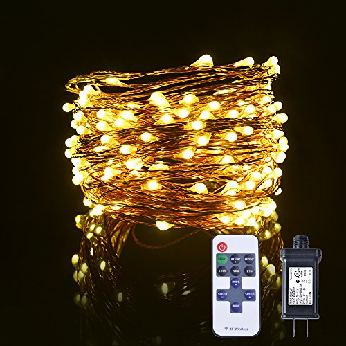 Christmas Decoration 66ft 200 Bright LED String Lights, Copper Wire Lights, with Wireless RF Remote Control, Waterproof Decorative RF Lights for Bedroom Party Patio Dancing Wedding (Warm White)
