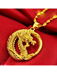 24K Gold Real 24K Yellow Gold Filled Smart Dragon Pendant Necklace Chain Solid Women Cool Men
