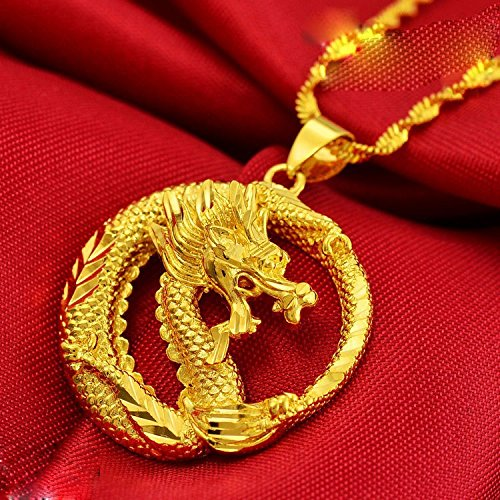 CS-DB 24K Gold Real Yellow Gold Filled Smart Dragon Pendant Necklace Women Cool Chain Men