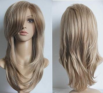 Blonde Medium Length Layered Shoulder Length Synthetic Hair Fiber Highlight Multicolor Wigs For White Women 10 27h613