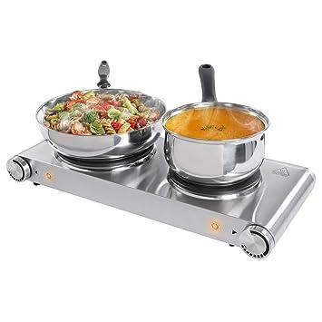 Sunavo Fornello elettrico Cocina portatil, hornillo eléctrico doble 2500 W, 2 zonas de cocinado1500W