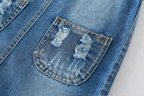 Kidscool Girls 5 Round Ripped Bibs Jeans Overalls Dress,Light Blue,6-7 Years by Kidscool (Image #5)