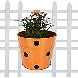 TrustBasket Metal Pot Railing Planter (Single Orange)