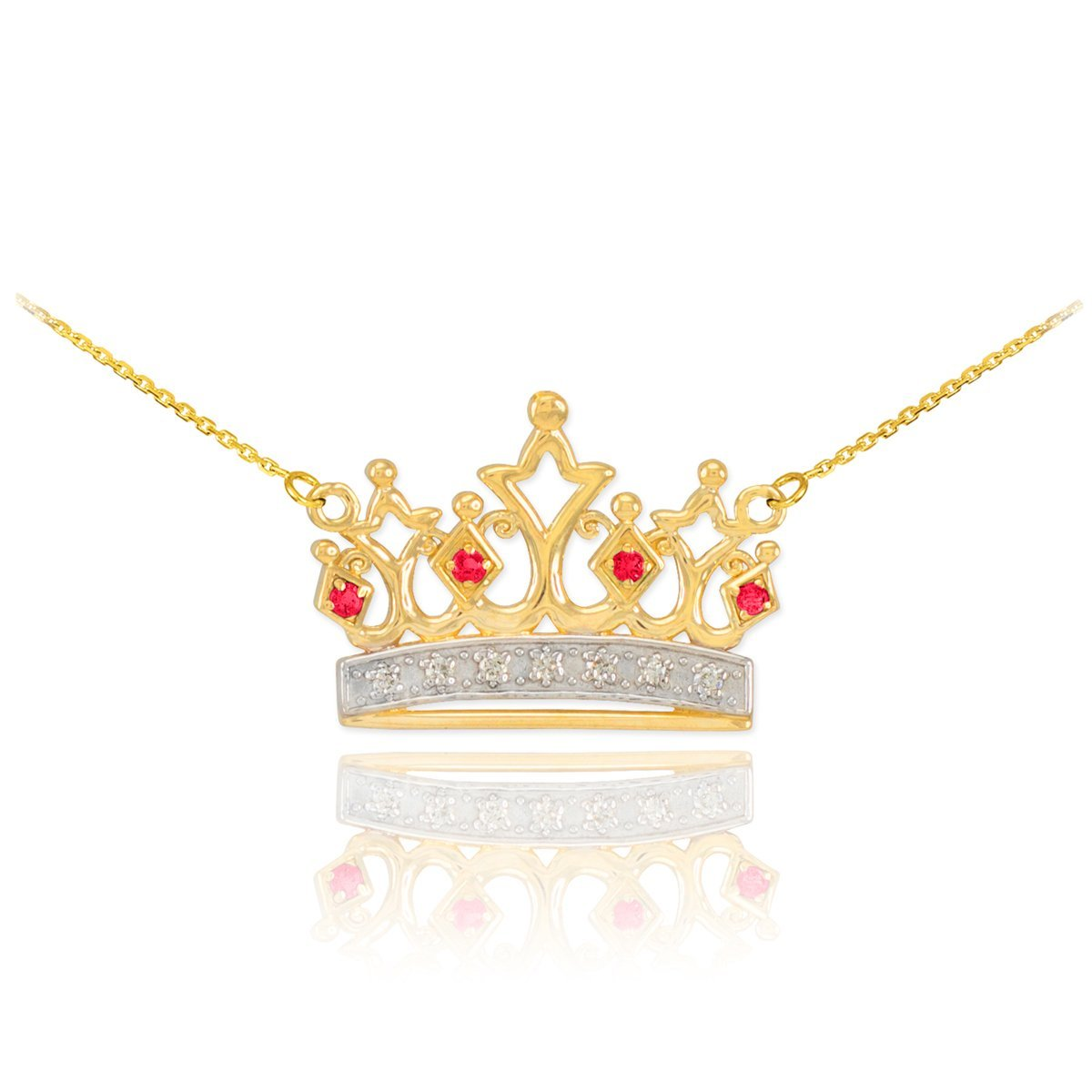 Dainty 14k Yellow Gold Ruby and Diamond Tiara Crown Pendant Necklace