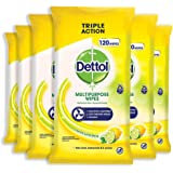 Dettol Multi-Purpose Antibacterial Disinfectant Surface Cleaning Wipes Lemon 720 (6 x 120's), 720 count, Pack of 6