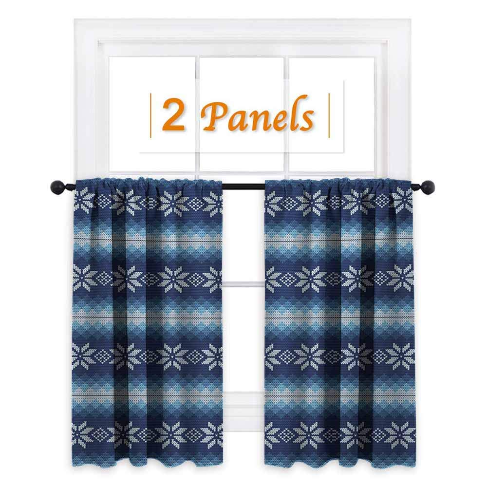 Flyerer Winter, Kids Room Artwork 2 Panels Set, Traditional Scandinavian Needlework Inspired Pattern Jacquard Flakes Knitting Theme, Drapes and Valance Set, W72 x L63 Inch Blue White