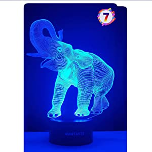 WANTASTE Elephant 3D Night Light for Boys Girls Room, Bedside Lamp Toys Decor Gifts for Kids Baby, 7 Colors Changing Nightlight with Smart Control