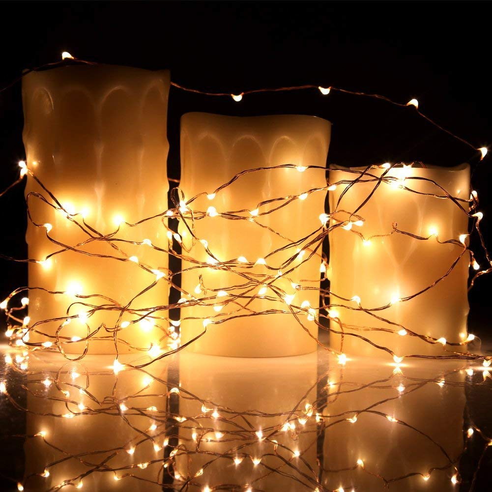 ECOWHO Fairy Lights 10ft 30 LED String Lights Battery Powered Starry String Lights Copper Wire Firefly Lights for DIY Christmas Wedding Party Patio(2 Pack Warm White)