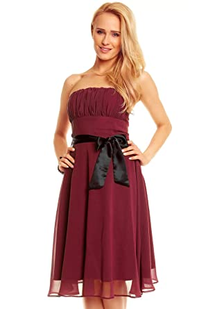 c89b18341202 Knielanges Bandeau Kleid Chiffon Ballkleid Abendkleid Cocktailkleid  Festkleid XS bis XXL  Amazon.de  Bekleidung