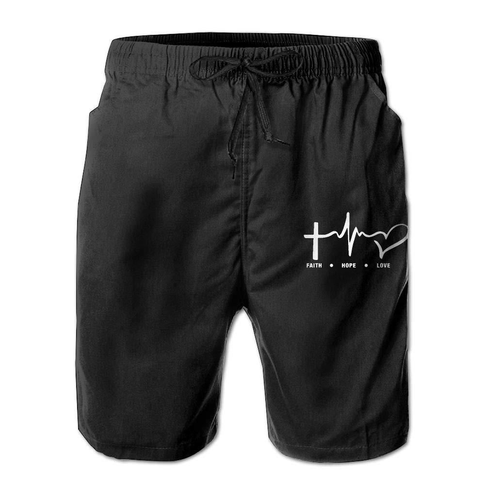 Faith, Hope and Love Mens Beach Shorts Swim Trunks Quick Dry Bathing Suits