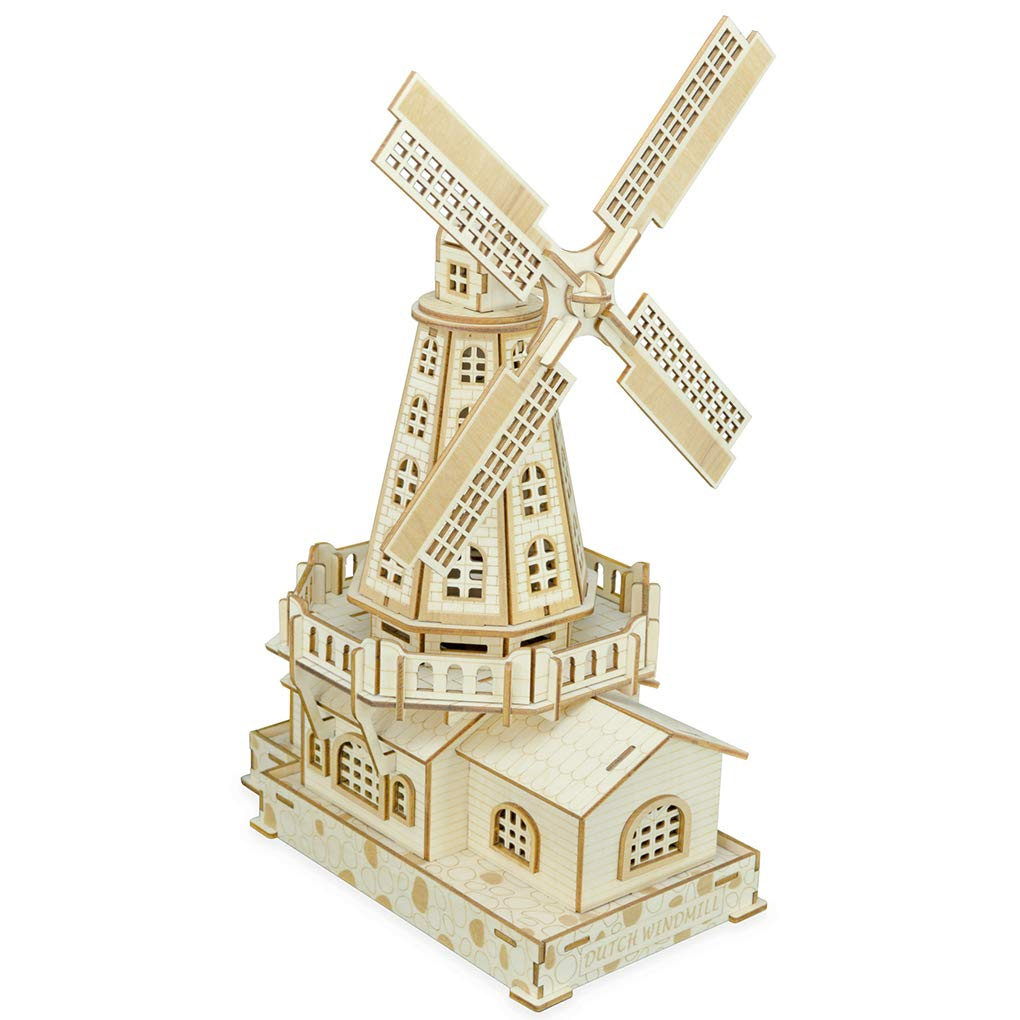 Bitopbi 3D Wooden Puzzles Laser Engraving DIY Safe Assembly Constructor Kit Toy Kids Teens Adults, World Famous Buildings Mechanical 3-D Models Self-Assembly (C2 Dutch Windmill)