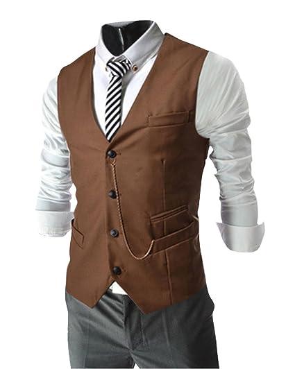 Hombre Clásico Chaleco Vestir de Boda Gilet Chaqueta Sin Mangas Casual Slim Waistcoat Blazers Caqui XL: Amazon.es: Ropa y accesorios