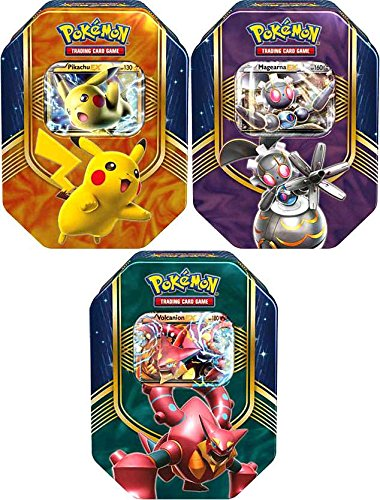Set of ALL 3 Pokemon 2016 Battle Hearts Booster Pack Tins - Pikachu & Volcanion & Magearna