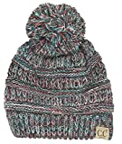 H-6847-816.4246 Girls Winter Hat Warm Knit Slouchy Kid Pom Beanie - Red/Teal #19