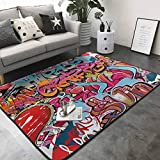 Bedroom Living Room Area Rug Graphic Decor,Hip