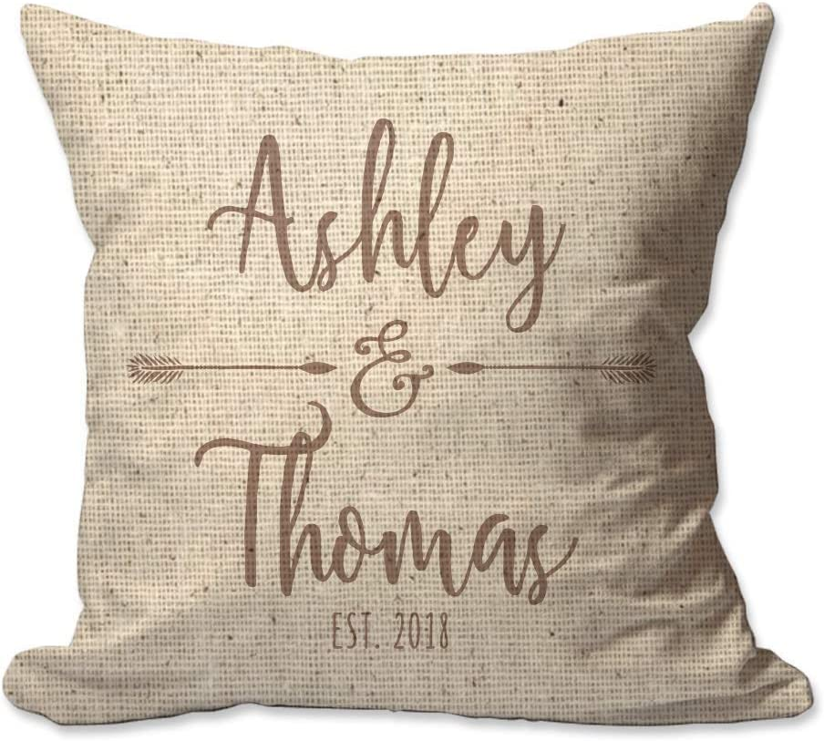 Pattern Pop Personalized Couples Names with Arrows Textured Linen Throw Pillow Cover - 17X17 Throw Pillow Cover (NO Insert) - Decorative Throw Pillow Cover