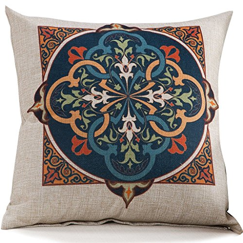 Cotton Linen Blend Cushion Square Decorative Throw Pillow Cover Booming Flower