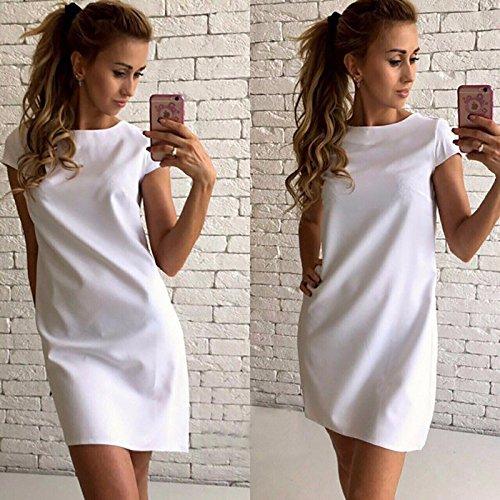 De Vestido ZHUDJ Tendencia La Palabra Corta Suelto Manga Una Vestido white Large De qxEOwxB