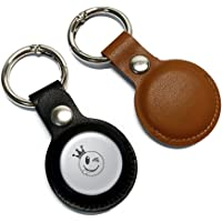 ZIQIAN Protective Case for AirTag 2021, 2-Pack Leather Tracker Holder with Key Chain, Easy Carry AirTag Cover for Keys…